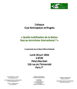 Colloque 20 juin 2016 - Quelle mobilisation de la Nation face au terrorisme international ?
